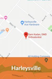 Harleysville map Kadan Orthodontics in Doylestown, Chalfont, Harleysville PA